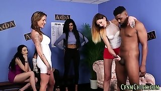 Female Dominance cfnm group get cum