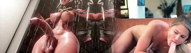 3D HENTAI MMD FUTANARI - Shower Surprise!