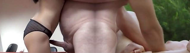 Straight teddy with chick fuck on a desk