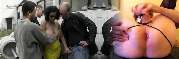 German mature whore enjoys outdoor gang-fuck