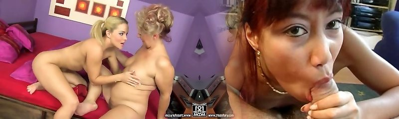 Two horny blondes - mature granny-fashion lady Doris and her young babe Salome