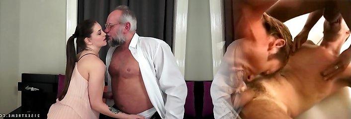 Angelina Brill pokes an older gentleman