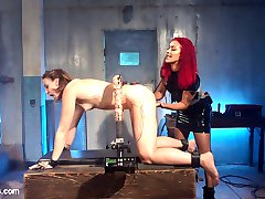Daisy Ducati and Dylan Ryan drench each other in an orgasmic electrosex scene filled with predicament bondage, a wired ass hook, finger banging, pussy licking, face sitting, the violet wand, a vibrating electro cock, and a hard electro strap-on!