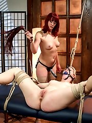 Newcomer Ella Nova gets destroyed in this high energy role play scenario about a massage therapist who's made to give happy endings to clients for extra money. Ella doing what she's told gives the wrong woman a happy ending and gets more than she bargained for and is made to get fucked by a woman! Hard spanking and punishment, strap-on in bondage, foot licking, dildo gag and strap-on anal are all included.