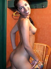 Cute ebony teen flaunts her luscious curves and finger banging her eager black pussy