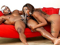 Black teen with big tits fucked in pile driver on the sofa