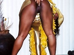 40 year old Patra works out each day to keep her bod taut. She enjoys to wear her skin taut sexy gold dress that shows off her lush black butt