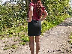 Hot redhead Milf Jenna sparkles in her silky nylon stockings and shiny black stiletto heels
