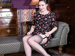 Sophia looking red hot in her RHT nylons, garters and sheer panties!