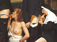 Retro nuns loving it rough
