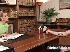 Mike Panic books an appointment with Maitresse Madeline Marlowe. She invites him to her office...