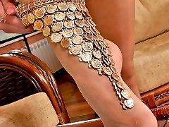 Blondie in high heel open toe shoes posing in her reinforced toe pantyhose