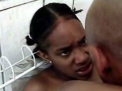 Young bushy twat ebony chick gets heavy pounding in the kitchen