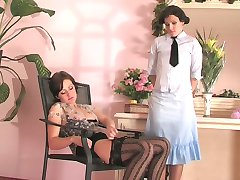 Lez mistress in black stripy stockings luring a housekeeper to French love