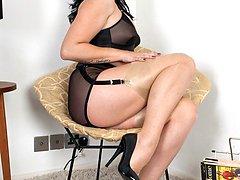 Curvy Shay in glossy topped RHTs and sheer black panties!