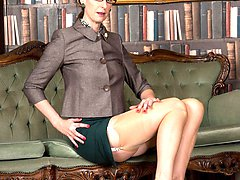 Office manager, Lara, as a nylon wearing mature masturbatory exhibitionist!