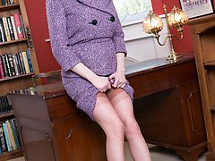 Samantha is in the study stripping off her suit to reveal vintage bullet bra, open crotch...