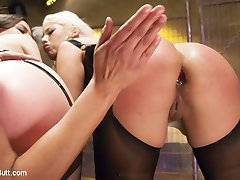 Beautiful, Blond, Latina, Bridgette B, is here today to try new things with her asshole. This is her first Everything Butt and she wanted to challenge herself. Juliette March is here to seduce her and make her feel good while we do filthy things to her asshole. Francesca Le is the ring leader and opens this up with some nice spanking and Face sitting. Bridgette smoothers Juliette's face with her big round ass. These girls try full insertion of the slink, the speculum, anal fisting and giant anal strap ons. Bridgette tries so hard to take everything she channels her inner Latina and starts screaming sexy shit in Spanish.