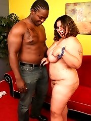 Black cock greedy bbw Jewelz takes one in her mouth before riding it on top and take it in her...