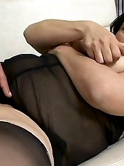 Busty bbw Claudia plays with her tits while getting fucked hard on the sofa