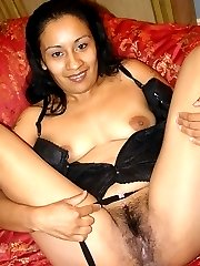 Hairy desi pornstar Tina show off her eager furpie and cram it with a big fat knob