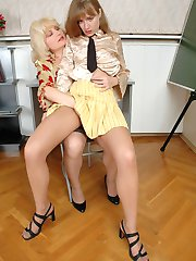Lusty mature gal in control top tights revealing her desire to taste pussy