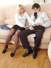 Blonde secretary giving cock perfect workout through barely black pantyhose