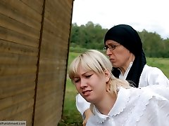 A severe caning for a Russian country girl