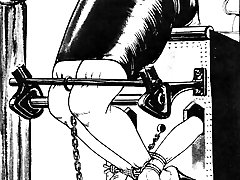 Beauties in latex gear tied up in various poses