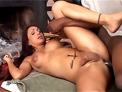 Shemale slut getting a taste of dark meat getting ass-fucked in interracial