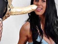 Strapon Jane gets her hands on Lou Jensons huge tits.