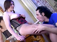 Cock-loving dude eagerly opens his mouth and butt for a strapon of his girl
