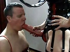 This sissy slave gets dominated by Strapon Helga