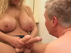 Huge-titted domina strapon fucks older mans ass then makes him to suck dildos