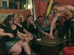 Fat chicks in a pub are drunk and horny and the guys are well-equipped to fuck them hard