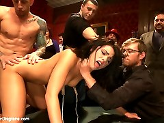 Blindfolded and locked into a box where only her pussy, ass, and feet are free, 21 year old hottie Adriana Chechik gives herself over to the most intense bondage, sex, and orgasms she has ever experienced! Cattle proding, fisting, squirting, rough sex, and humiliation! Don't miss this shoot!