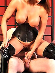 Mistress Carly ties up and works up her slaves cock, then after riding his cock and making him...