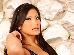 Hot Asian dominatrix Christina Aguchi receives full body worshiping from her male slave