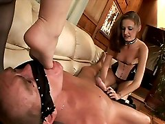 Two chicks in stockings perform great footjob and get feet and asses worshipped by a foot fan