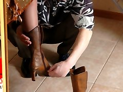 Steamy dude choosing best high heel shoes before sucking pantyhosed feet