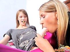Suck my pink cock! Hot blonde sucks her lesbian friends big cock!