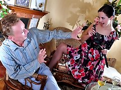 Pantyhosed gal takes off her dress and lures her boyfriend into strapon sex