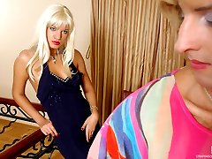 Kinky sissy wears a colored blouse and tight denim going for a strapon fuck