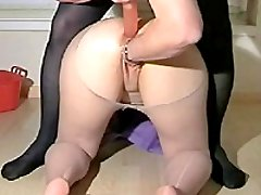 Kinky housewife fisted and butt fucked with a large dildo