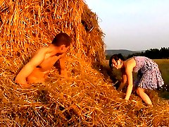 The soft hay makes a perfect bed for these horny teen lovers. They don`t have any privacy anywhere else, so this farmer`s field becomes their bedroom.