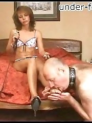 Old bear gets put on a leash and made to worship his miniature dominas bare little feet