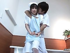 Sexy asian nurse gets her pussy rubbed part5