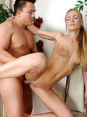 Naked blonde gags on a cock and parts her cheeks for rimming and butt fuck