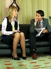 Blonde office babe makes a business partner sign a contract after anal job