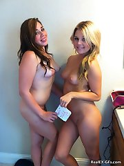 Two Cute GFs pose nude together